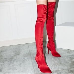Aldo Over the Knee Boots Red Thigh High
